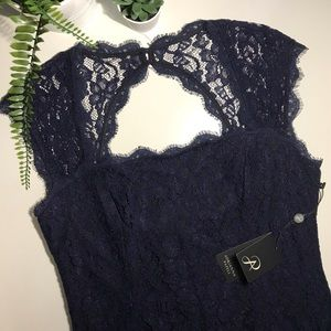NWT Formal Blue/Black Lace Dress